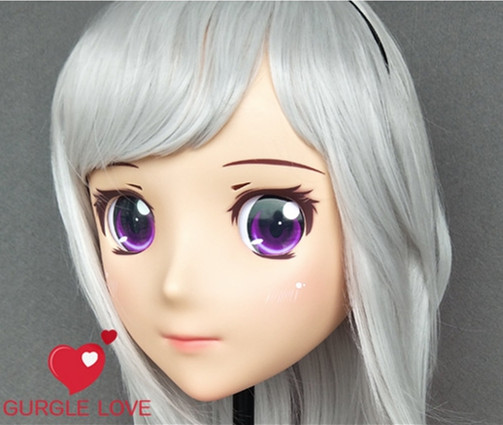 Female Sweet Girl Resin Half Head Kigurumi Mask With Bjd Eyes Cosplay Japanese Anime Role Lolita Mask Crossdress Doll Soft And Antislippery dm143 Novelty & Special Use