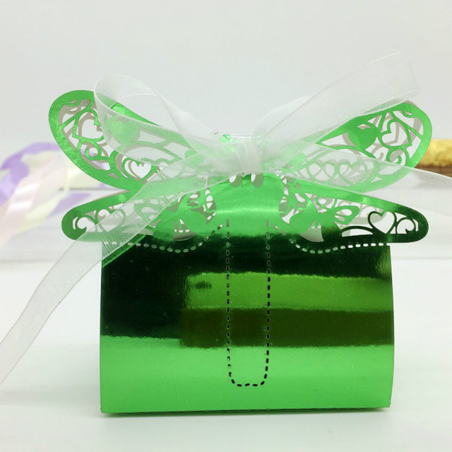 50pcs Laser Cut Wedding Decorations Dragonfly Candy Boxes Favor Gift