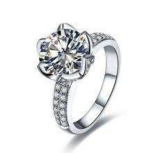 Vintage flor de loto forma 3 quilates certificado NSCD encantador diamante anillo de compromiso oro blanco acabado anillo de plata de ley