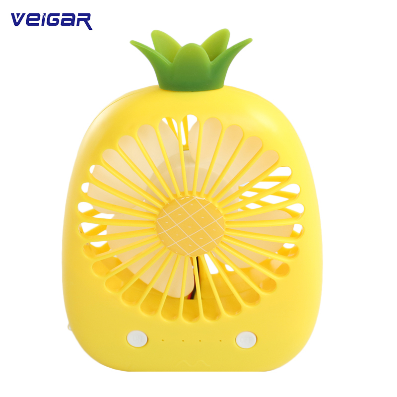 USB Rechargeable Fan Portable Mini Handheld Handy Fan Cartoon Pineapple Fans 3 Wind Modes USB Air Cooling Fan For Summer Gift