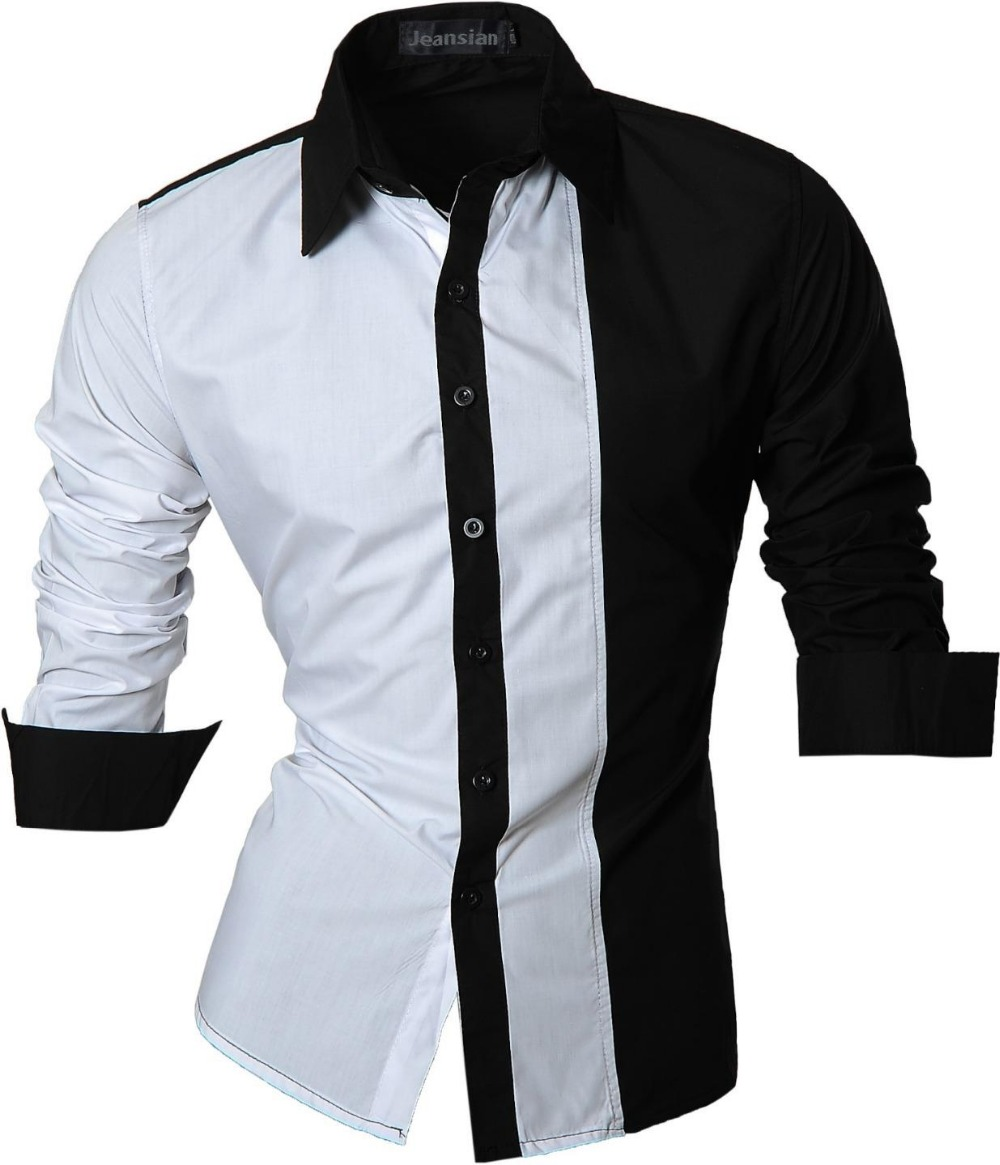 Male Slim Fit Cotton Mens Dress Shirts Casual Long Sleeve