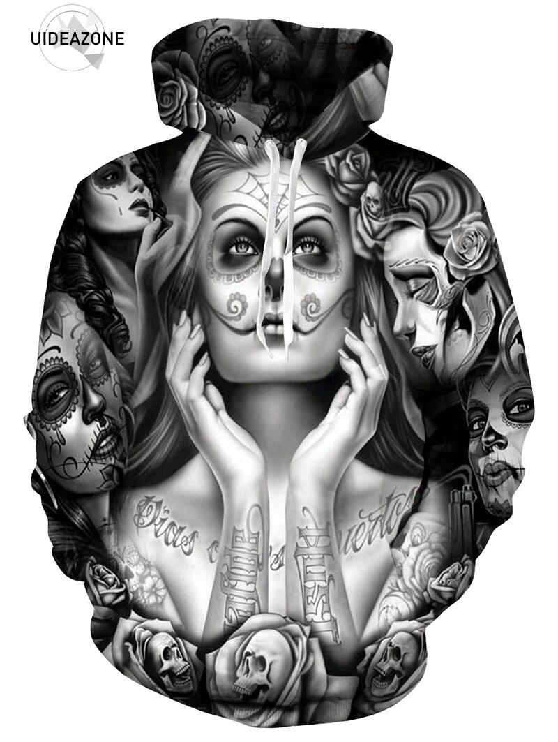 2018 New EU Plus Size Uomini Hoody Felpe Fuso 3D Stampato Tatuaggi Cranio Felpe Fashion Pullover Casual Top Primavera Pantaloni A Vita Bassa