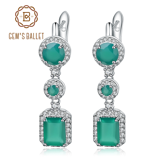 Gem's Ballet 4.96Ct Natural Green Agate Drop Earrings 925 Sterling Silver Vintage Earrings For Women Wedding Fine Jewelry-in Earrings from Jewelry & Accessories on Aliexpress.com | Alibaba Group