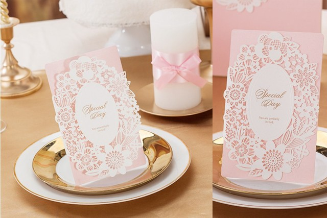 Customized laser cut pink wedding party invitation card marriage customized laser cut pink wedding party invitation card marriage engagement boda festa matrimonio kit stopboris