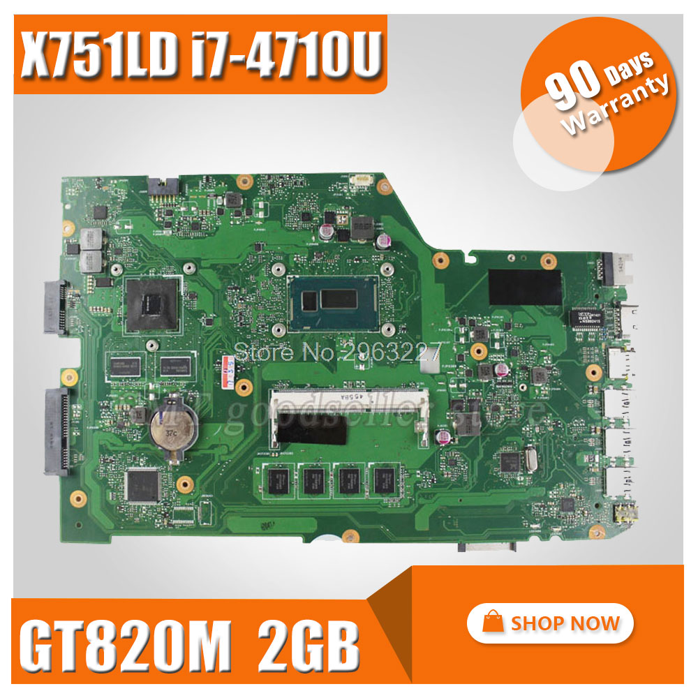 Original X751LD REV:2.0 For ASUS X751LN X751LJ K751L laptop motherboard DDR3 With i7-4710 cpu 4GB RAM Mainboard 100% tested цена