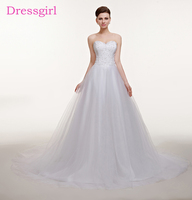 Plus Size Vestido De Noiva 2018 Wedding Dresses A Line Sweetheart Tulle Lace Beaded Boho Cheap