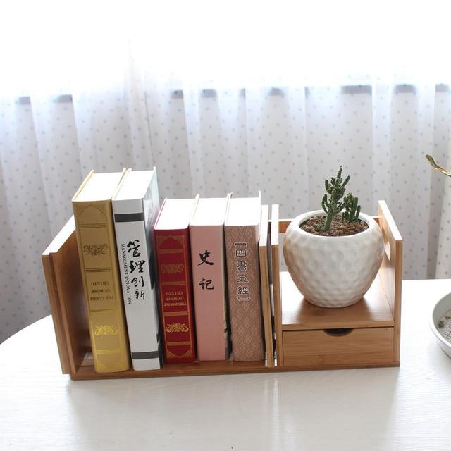Bamboo Retractable Table IKEA Bookcase Bookcase Student Office Desktop  Storage Rack Simple Creative Glove Bookshelf