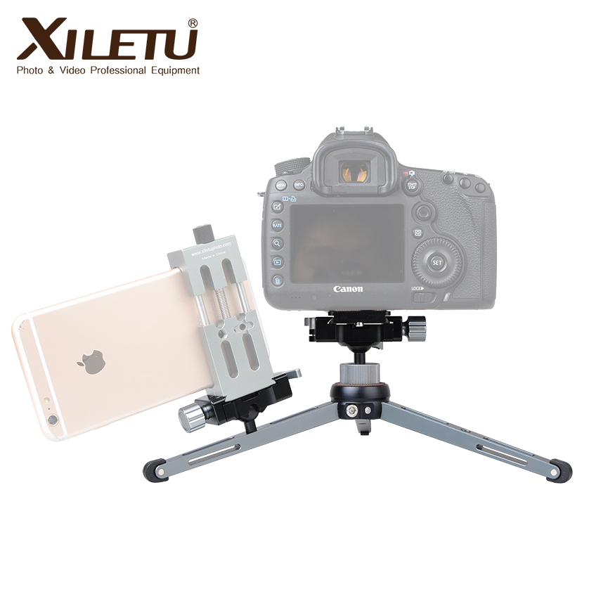 XILETU XT-15+BS-1 Camera Phone Stand Lightweight Tabletop Mini Tripod For Smartphone DSLR Mirrorless Camera
