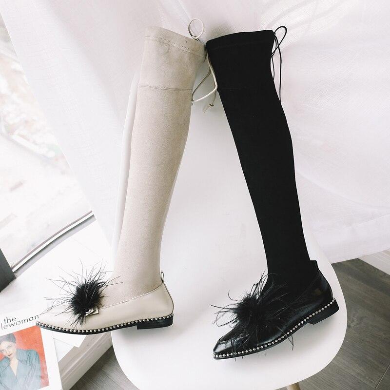 La Nuevo Boots Prova Plumas In apricot Muslo Black In Faux Sobre Suede Invierno Moda Mujeres Rodilla Estilo Alta Zapato Slim Perfetto In black Plush Leather Botas Sexy 5rBgcBnv