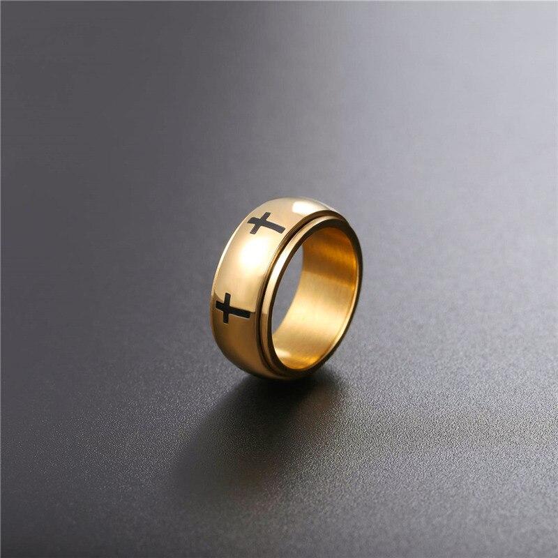 e4eb56c79d1b Collare Cruz anillo de acero inoxidable hombres Christian Joyas oro color  de doble capa giratoria anillo mujeres anillo religiosa R009 en Anillos de  Joyería ...