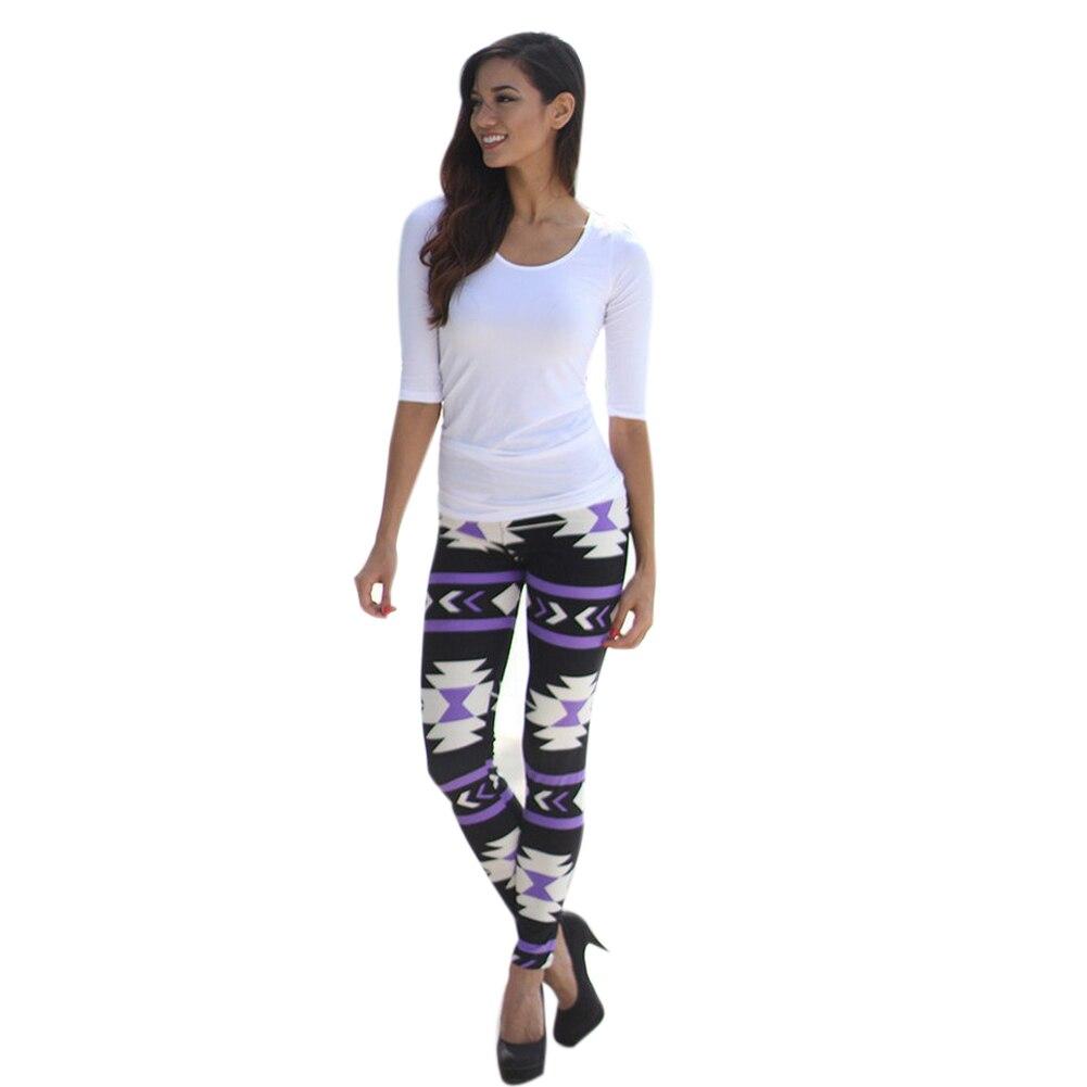 New Fashion Women Girls Irregular Geometry Print Elastic Leggings Lady Pants Capris for Woman Boots Pants