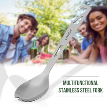 купить Lixada Stainless Steel spork with Bottle Opener Lightweight Outdoor Dinner spork Flatware for Travel Camping недорого