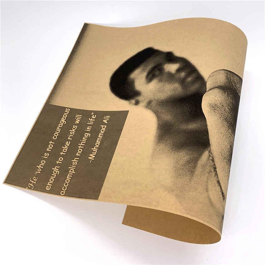 Vintage Muhammad Ali poster Retro Muur Sticker Papier Abstracte print picture Cafe Bar Decor Woonkamer Thuis 42x30 cm