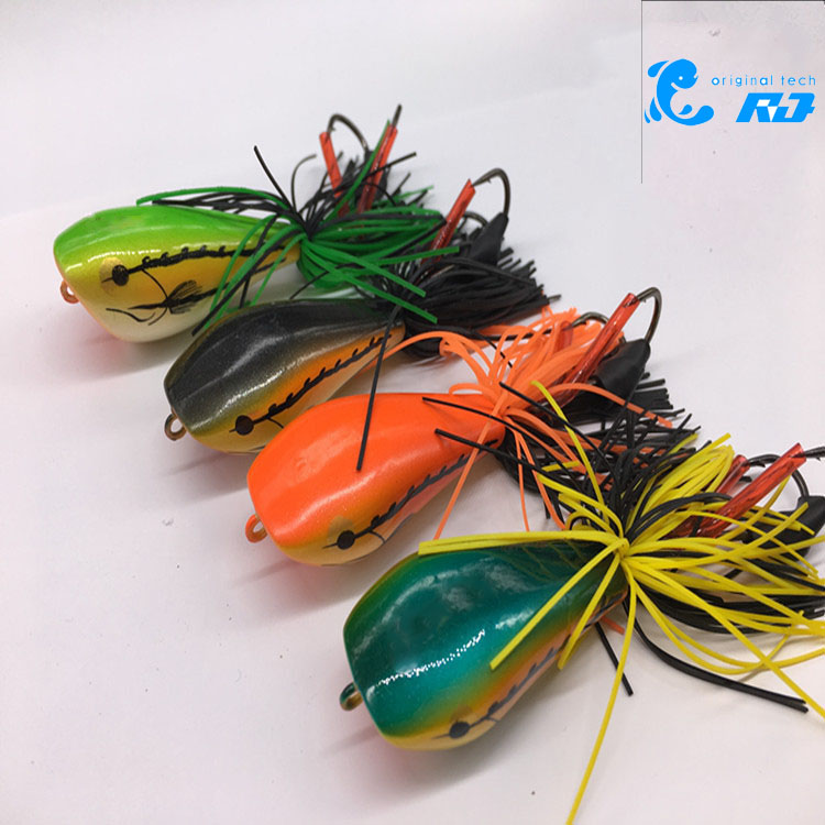 Rg 1Pcs Topwater Simulation 90mm/10g Hard Bass Bait Snakehead Lure Popper Frog Fishing Lures Fishing Tackle anmuka frog fishing lures kit snakehead lure topwater floating frog baits with box pesca isca artificial