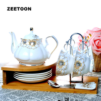 13PC European Handmade Ceramics Coffee Set Coffee Pot Mug Black Tea Cup and Saucer Spoon with Wooden Shelf Afternoon Tea Set New