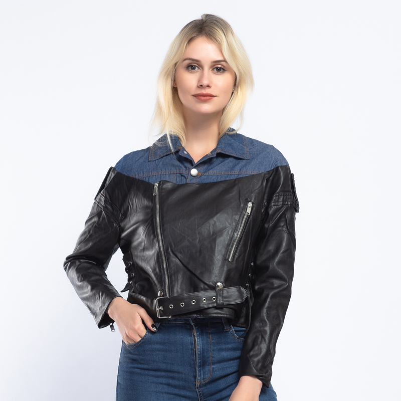 New Design 2019 Spring Denim Patchwork Women   Leather   Jacket Coat Chic Casual PU Motorcycle Female Biker Jacket Streetwear AO893