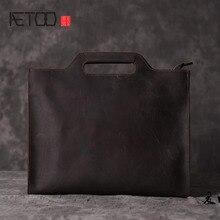 AETOO  Crazy Cow Leather Trendy Handbag Business Young Shoulder File Pack Casual Korean Genuine Bag
