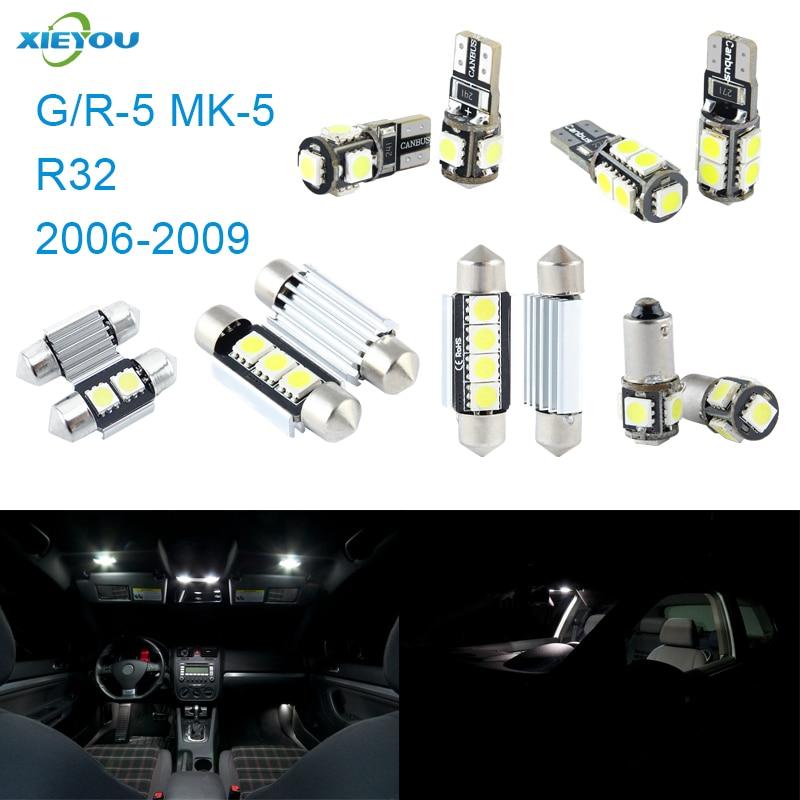 XIEYOU 11 հատ հատ LED Canbus- ի ներքին լույսերի հավաքածուի փաթեթ R32 նապաստակի համար (2006-2009)