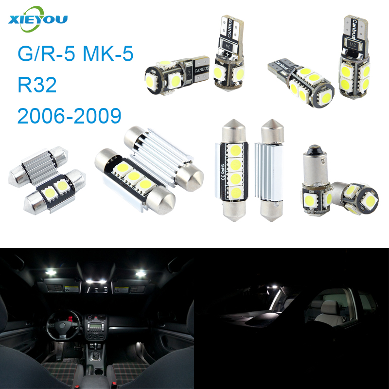 XIEYOU 11pcs LED Canbus- ის ინტერიერის სანთლების ნაკრები პაკეტის R32 კურდღლისთვის (2006-2009)