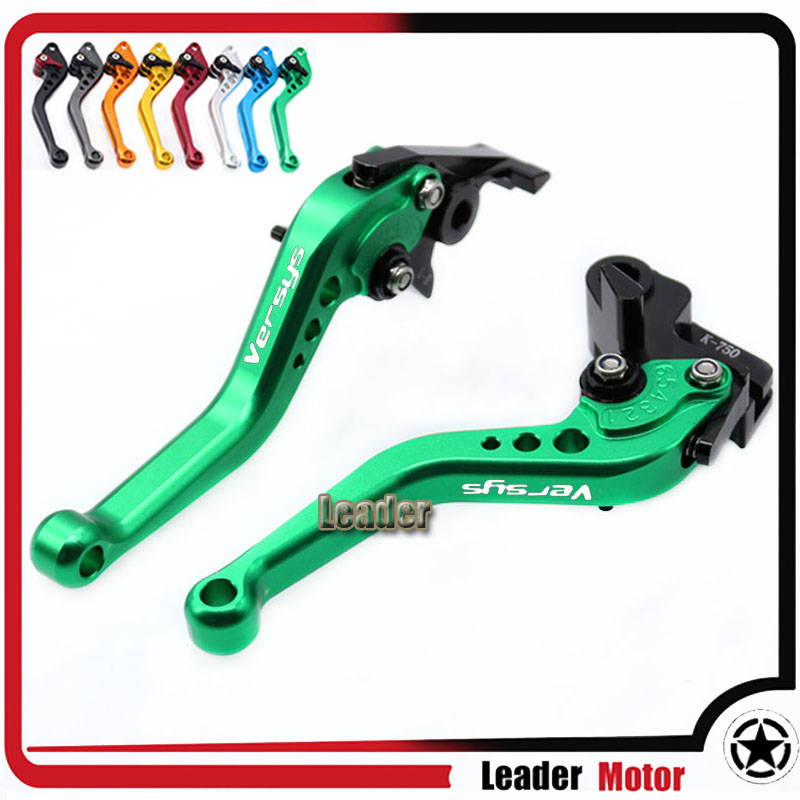 For KAWASAKI Versys 650 Versys650 2009-2014 Motorcycle Accessories Short Brake Clutch Levers Green LOGO Versys for kawasaki kle 650 versys 2009 2013 motorcycle accessories folding extendable brake clutch levers gray green