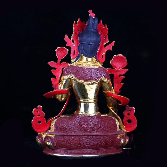 33 CM alto # hogar protección eficaz talismán budismo Bodhisattva Tara Buda blanco dorado bronce la estatua de Buda-in Estatuas y esculturas from Hogar y Mascotas    3