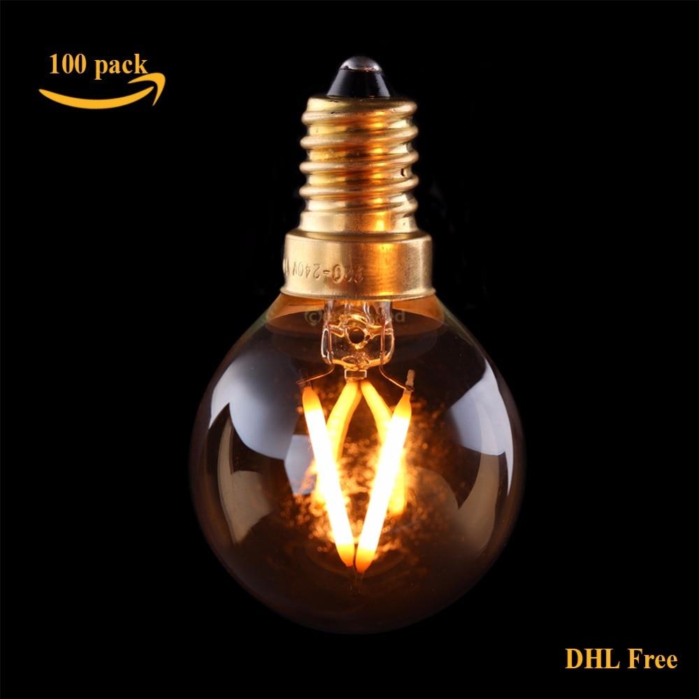 DHL Free,100pcs/Lot Vintage LED Filament Bulb,1W 2200K,Gold Tint,Edison G40 Globe Style,Decorative Household Lights,Dimmable