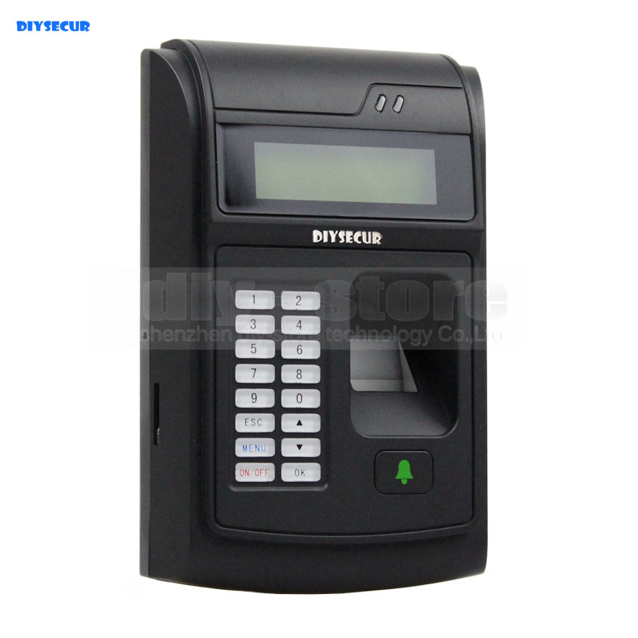 DIYSECUR LCD Biometric Fingerprint PIN Code Door Lock Access Control + 125KHz RFID ID Card Reader With USB / Door Bell Button f807 tcp ip biometric fingerprint access control machine digital electric rfid reader scanner sensor code system for door lock