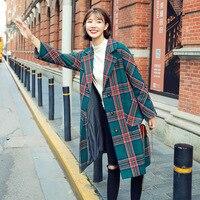 Women Plaid woolen Coat Autumn Winter Long Jacket Female Turn Down Collar Blends Woolen fashion woolen jacket warm plaid coat