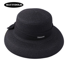 MATTYDOLIE Bow Straw Hat Front And Back Summer sSun Ladies Sunscreen Beach outdoor Wide Side Sunshade Cap Can Be Folded