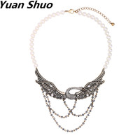 Yuan Shuo Luxury personality Imitation pearls necklace European American fashion jewelry swan pendant necklace ladies necklace