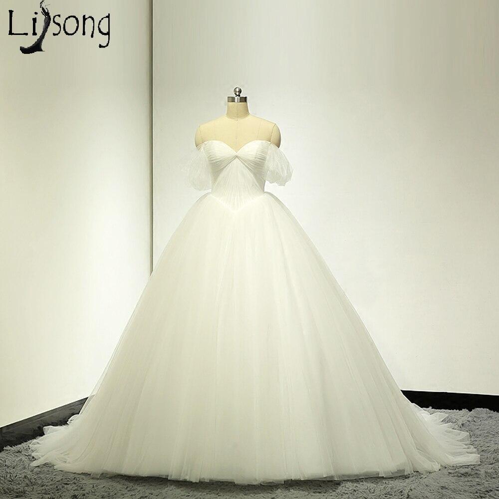 Vestido De Noiva 2018 Princess Wedding Dress Ball Gown Off: Pure White Tulle Wedding Dresses Romantic Vestido De Noiva