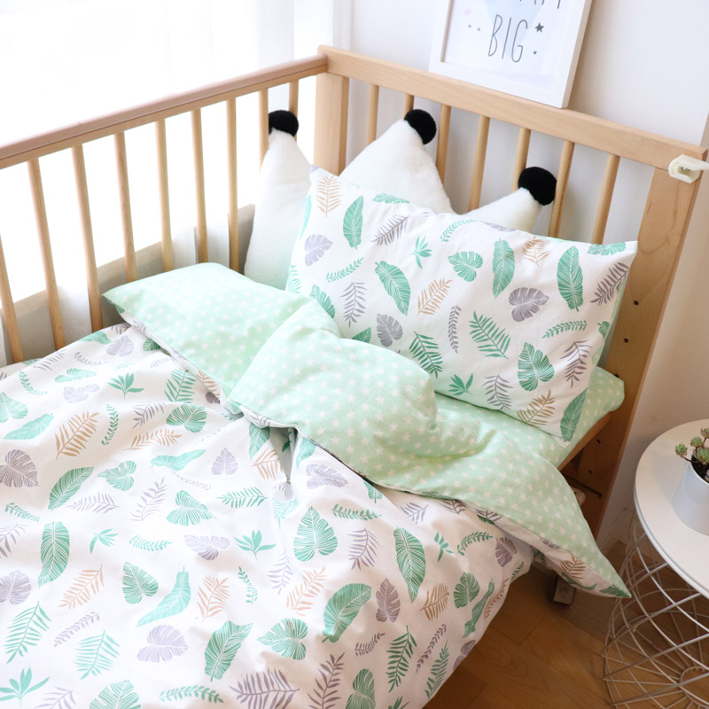 Baby Bedding Set 5pcs Cartoon Woven Cotton Bed Linen For