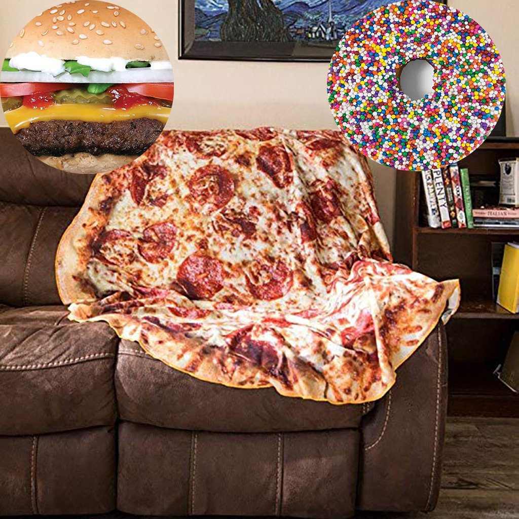Funny Crazy Round Air Condition Blanket Food Creations Pizza Donut Hamburger Wrap Blanket Perfectly Round Hamburger Throw S/M/L