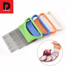 Dehomy Stainless Steel Onion Tool Fruit Vegetable Slice Holder Creative Tender Meat Needle 4 Colors Available