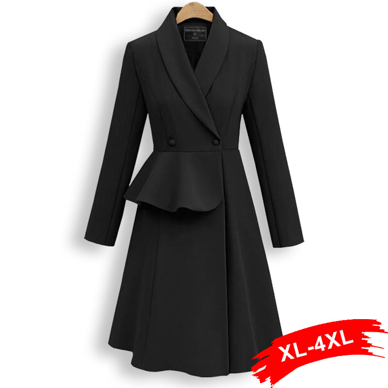 Plus Size Europe Style Ruffles Waist   Trench   Coat 3Xl 4Xl Spring Streetwear Double Breasted Women Long Sleeve Long Dress Coats