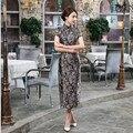 Summer Hot Sale Chinese Women's Satin Qipao Traditional Long Slim Cheongsam Mandarin Collar Dress S M L XL XXL XXXL C0036-A