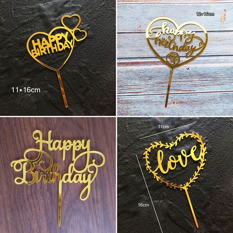 Gold Acrylic Happy Birthday Cake Topper Garland LOVE Heart Cupcake Topper For Birthday Wedding Party Cake Decorations Tools image