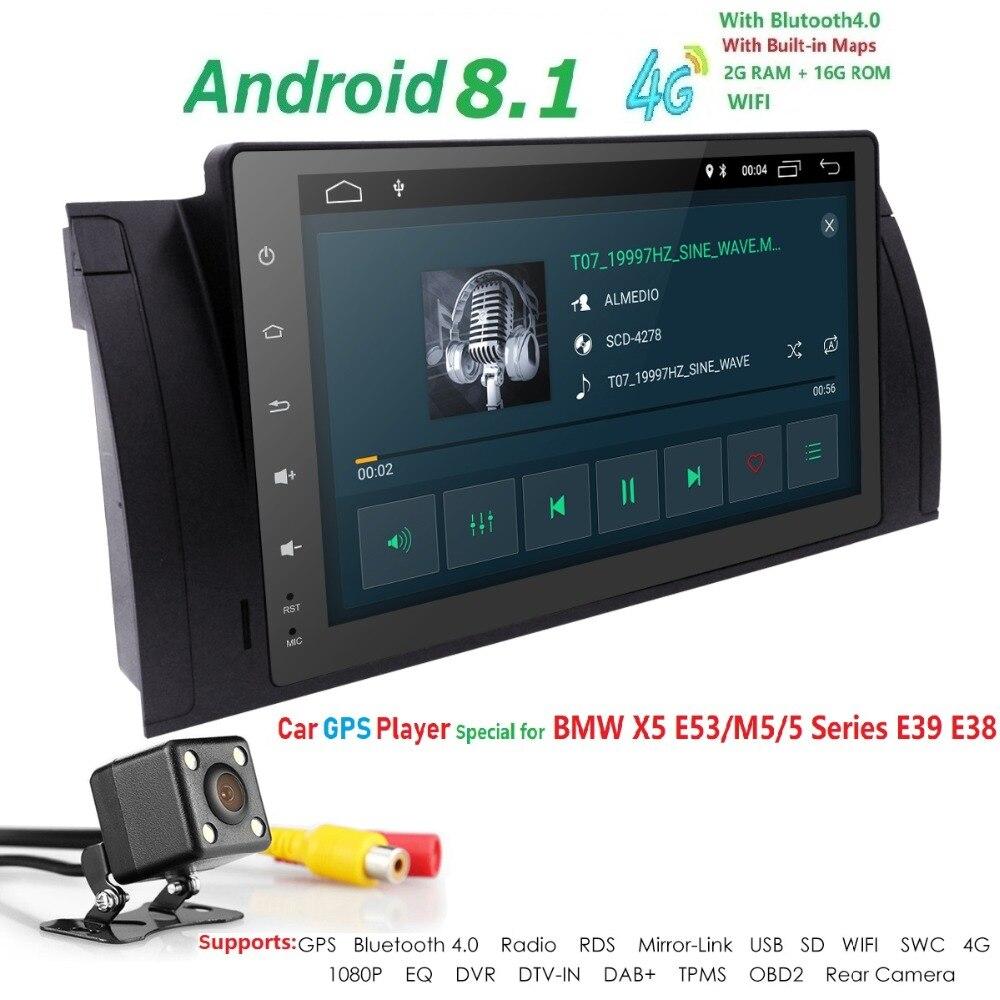 Hizpo 9 pouces 1024x600 HD écran tactile 1 din Android 7.1 voiture multimédia Radio stéréo pour BMW E39 E53 X5 Wifi 3G Bluetooth DVR RDS - 4