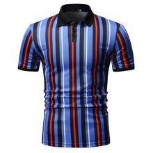 Vertical stripes Polo Collar Summer Tops Fashion Men Shirt Short sleeve Business Social Mens Clothing