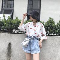 Women S Shirts Japan Kawaii Ladies Vintage Red Heart Print Vintage Pearl Button Shirt Female Korean
