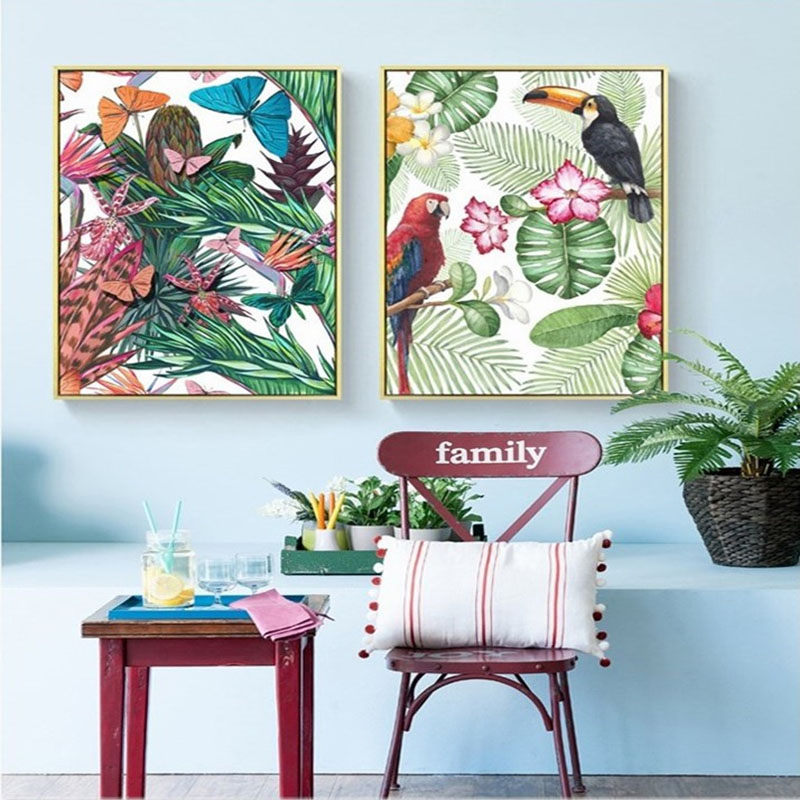 Canvas Painting Art Nordic Prints Decor For Kids Room Wall Animals Peacock Parrot Tiger Flamingo Butterfly Forest Scenery Poster