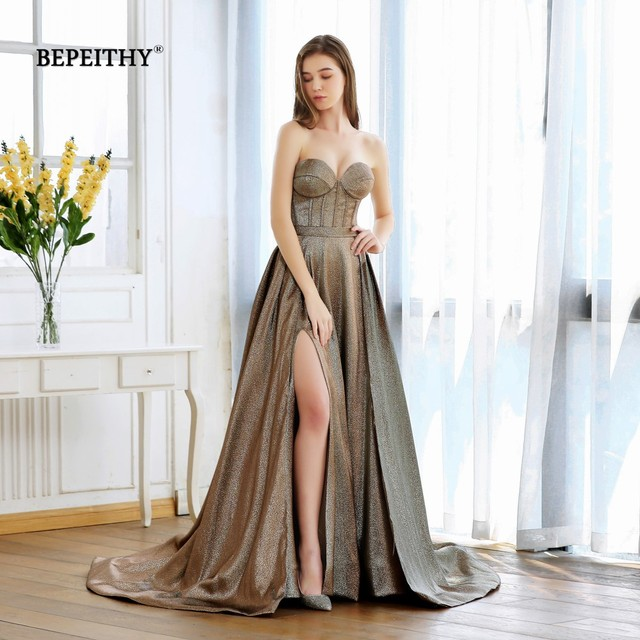 New Fashion 2020 Sweetheart A line Long Evening Dress With Train Robe De Soiree Sexy High Slit Glitter Gold Prom Party Gown