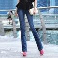 Женщины лето плюс размер твердые середина хлопок Карандаш Брюки женские весна негабаритных тонкий карман на молнии кнопка Полная Длина джинсы
