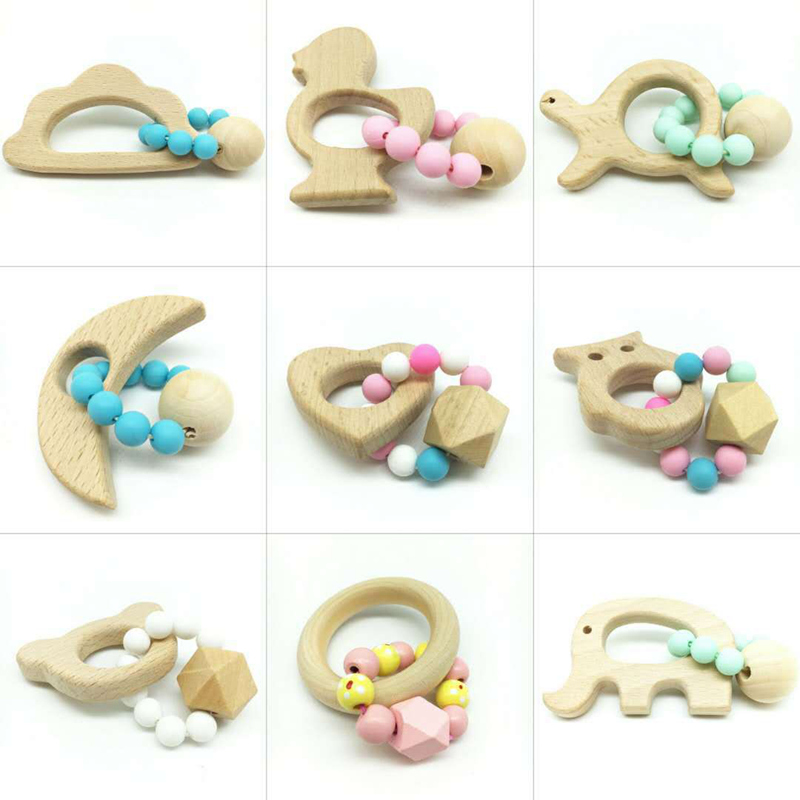 Baby Nursing Bracelets Wooden Teether Ring Chew Beads Teething Wood Rattles Toys