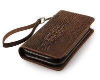 Nesitu High Quality Long Brown Vintage 100% Guarantee Real Skin Genuine Leather Men Wallets Male Clutch Bag Purse M8070