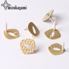 Zinc Alloy Golden Hollow Geometric Earrings Base Earrings Connector 20mm 6pcs/lot For DIY Fashion Earrings Making Accessories