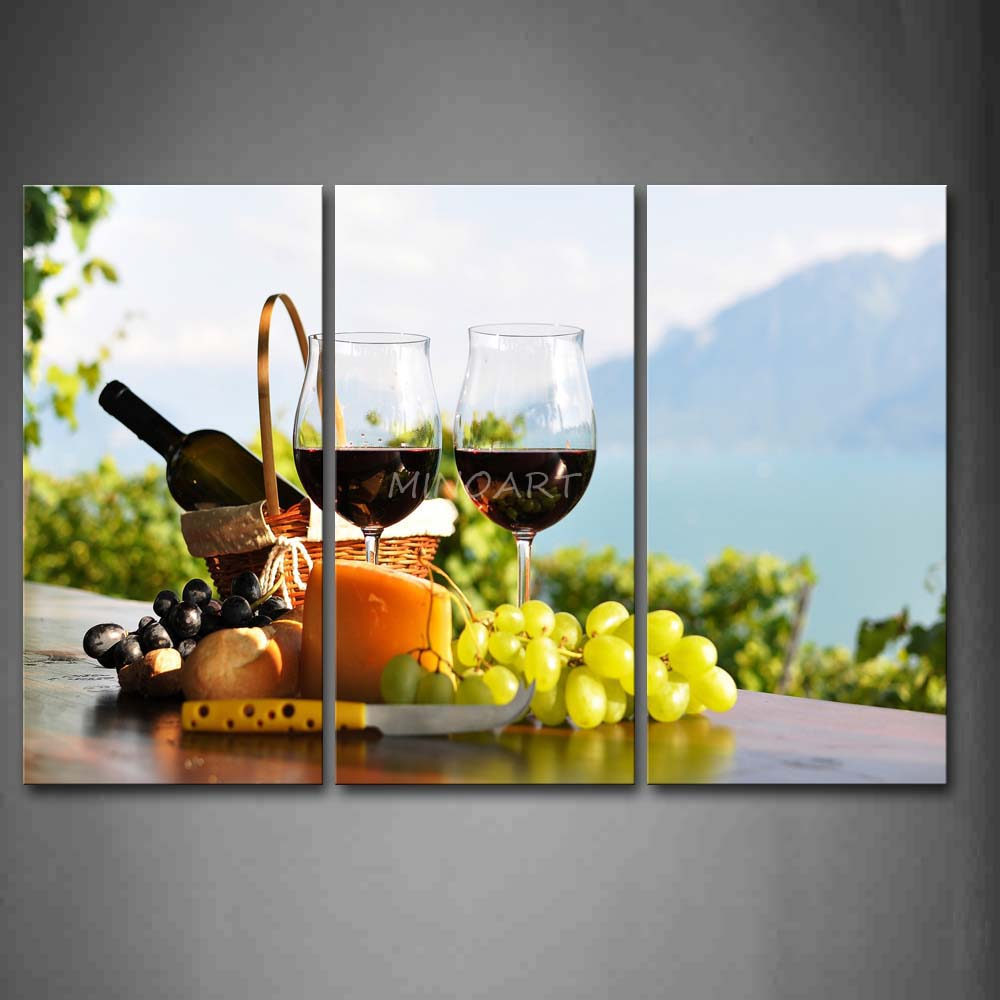 3 Piece Wall Art Painting Grapes And font b Knife b font Two Cups Of Wine