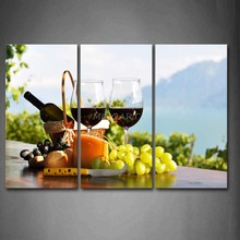 3 Piece Wall Art Painting Grapes And Knife Two Cups Of Wine Picture Print On Canvas Food 4 The Picture Home Decor Oil Prints