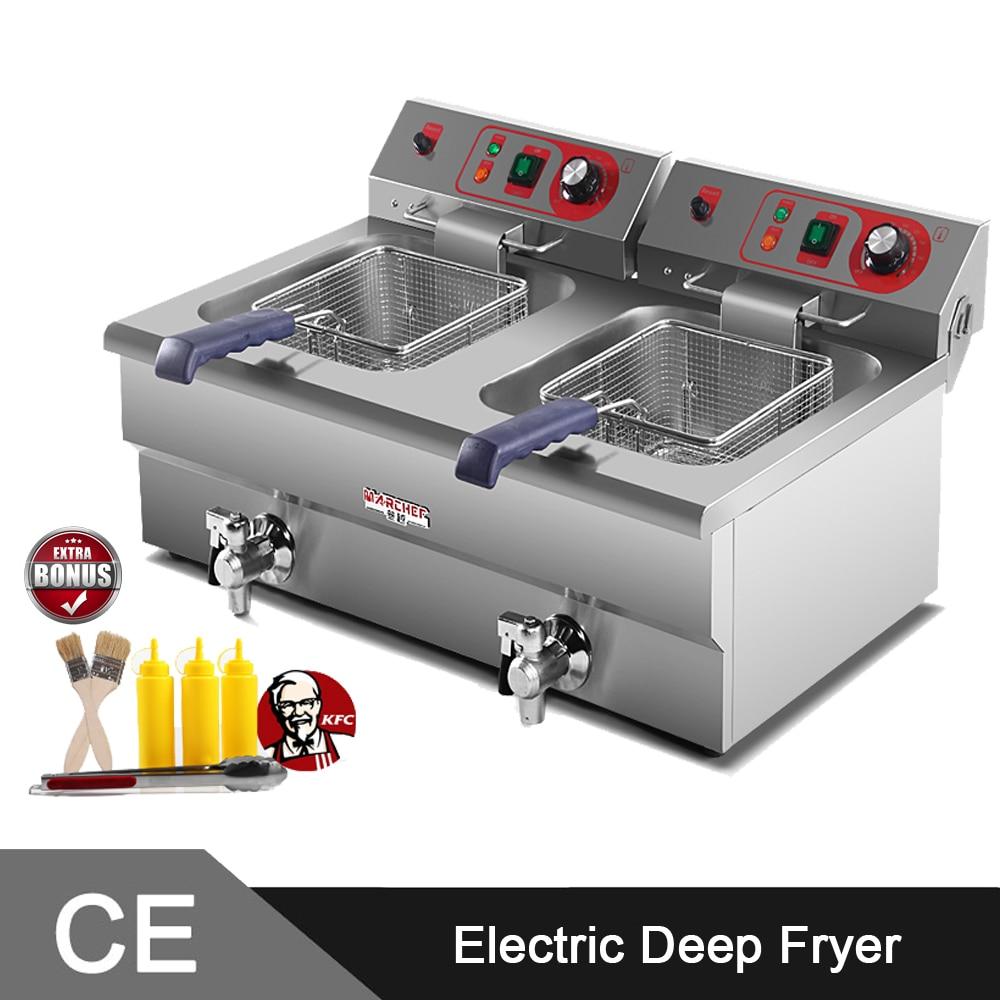 5000W Twin 16L Tank  Stainless Steel Commercial Electirc Deep Fat Fryer Machine