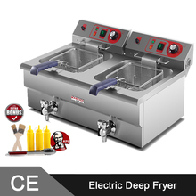 5000W Twin 16L Tank  Stainless Steel Commercial Electirc Deep Fat Fryer Machine